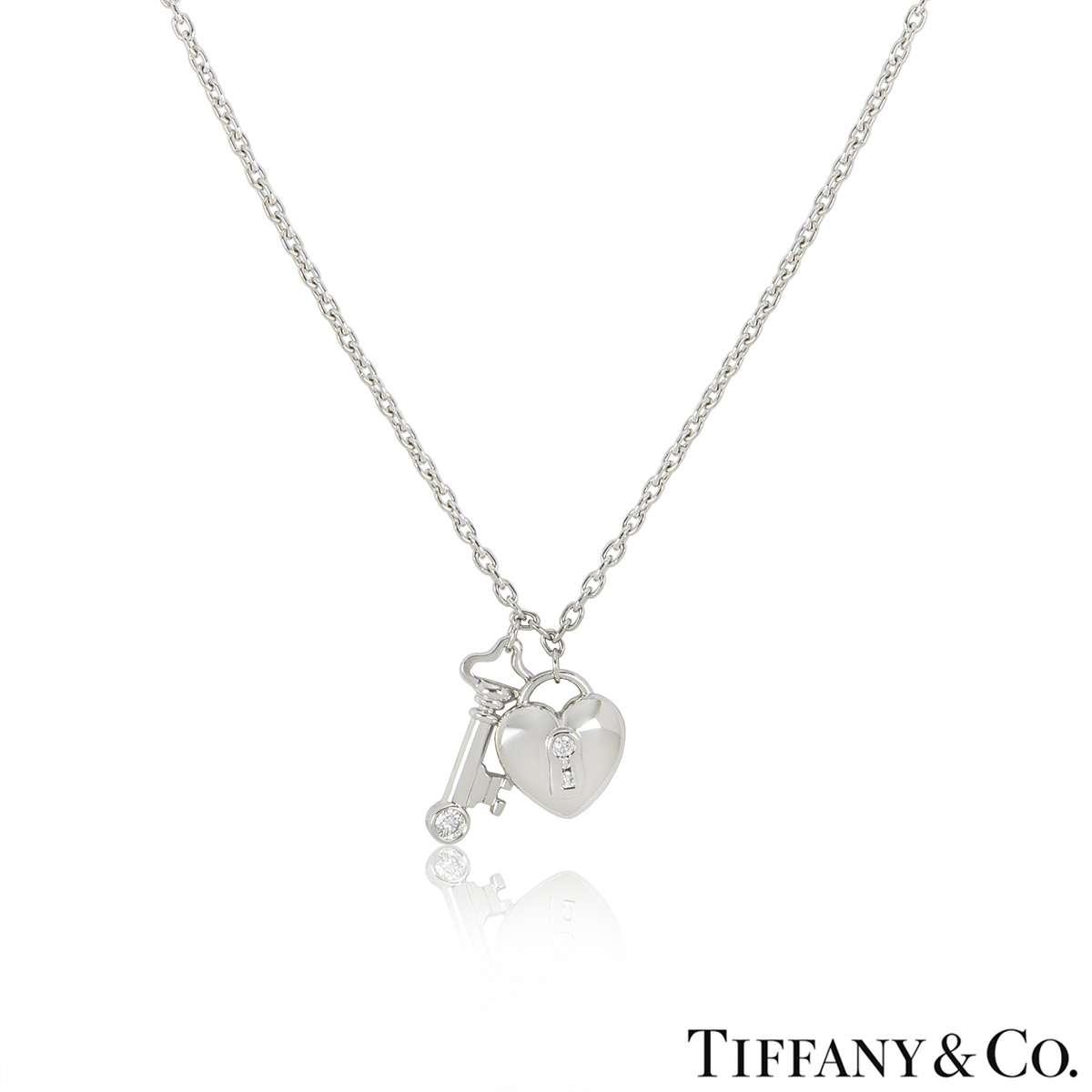 Tiffany & Co. Platinum Diamond Lock & Key Pendant